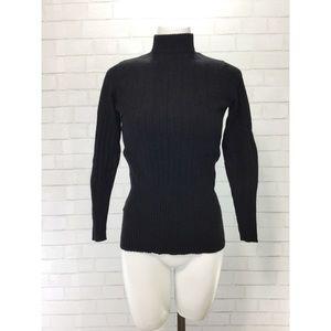 Vintage Black Virgin Cashmere Turtleneck Small EUC